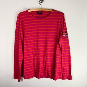 Saint James Striped Long Sleeve Pink Orange T 614